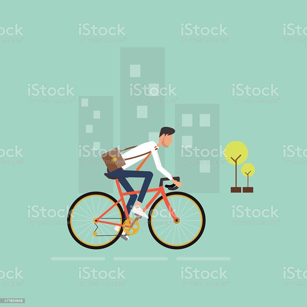business man on bike go to work in city.energy saving vector art illustration