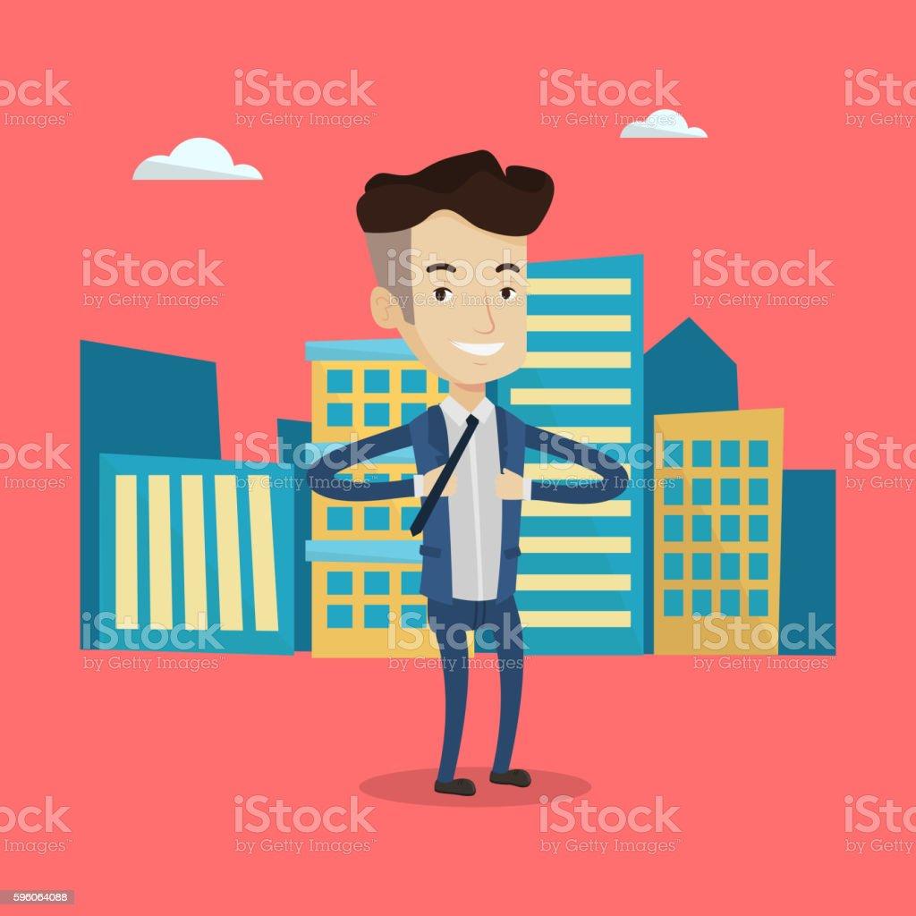 Business man opening his jacket like superhero. royalty-free business man opening his jacket like superhero stock vector art & more images of adult