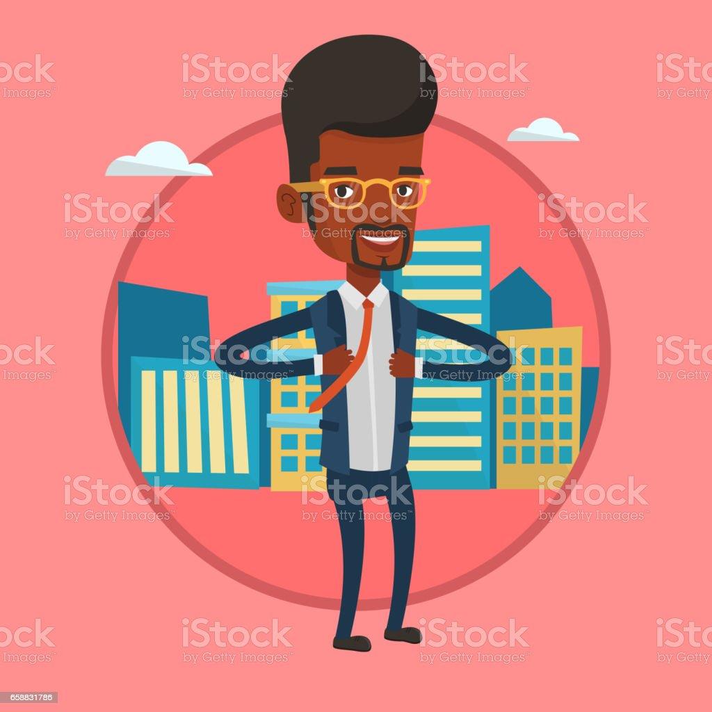 Business man opening his jacket like superhero vector art illustration