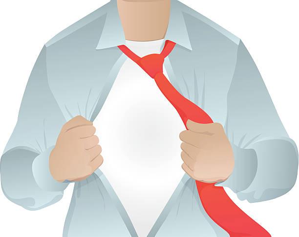 Business Man Opening His Shirt vector art illustration