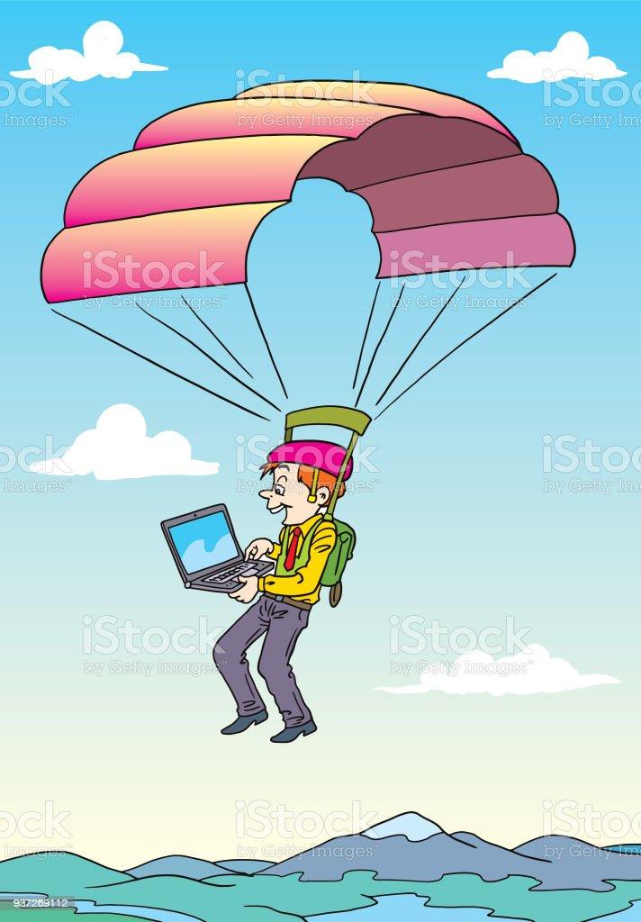 Ilustración de Paracaídas Del Hombre De Negocios y más banco de ...