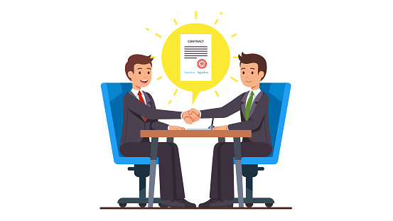 Business man partnership beginning. Businessman partners shaking hands after signing contract agreement closing deal sitting at negotiations table. Flat cartoon vector character illustration