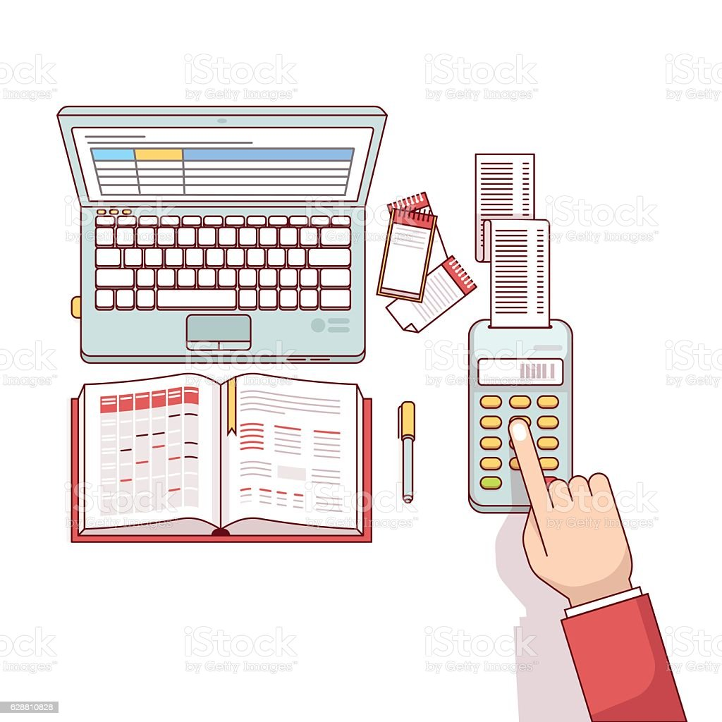 Business man planning and calculating his expenses vector art illustration