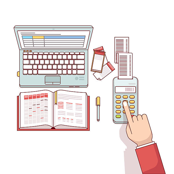 Business man planning and calculating his expenses Business man planning, calculating and scheduling his expenses or taxes with his spreadsheets on laptop computer and notepad. Flat style thin line vector illustration isolated on white background. budget patterns stock illustrations