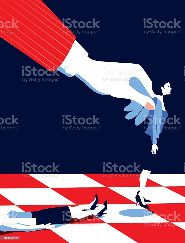Business Man Playing Chess with Women Pieces vector art illustration