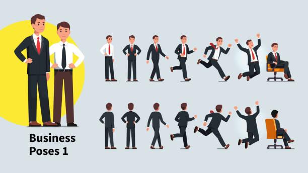 ilustrações, clipart, desenhos animados e ícones de poses e ações do homem de negócio ajustados. vista dianteira e traseira da coleção da pessoa do negócio. homem de negócios que está, andando, funcionando, comemorando o sucesso, sentando-se na cadeira do escritório. ilustração lisa do caráter d - business man