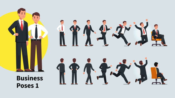 illustrazioni stock, clip art, cartoni animati e icone di tendenza di business man poses and actions set. front and back views of business person collection. businessman standing, walking, running, celebrating success, sitting in office chair. flat vector character illustration - completo
