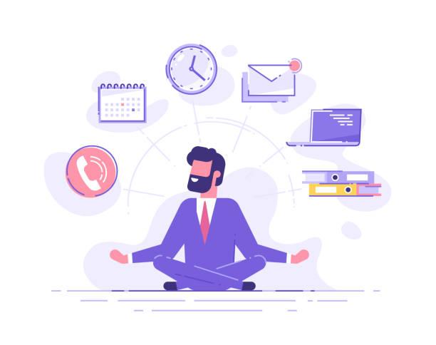 ilustrações, clipart, desenhos animados e ícones de meditação praticando do mindfulness do homem de negócio com ícones do escritório no fundo. conceito de multitarefa e gerenciamento de tempo. ilustração do vetor. - business man