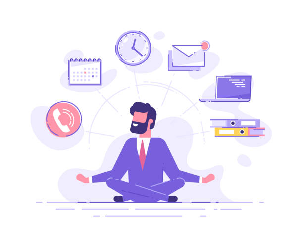 business man practicing mindfulness meditation with office icons on the background. multitasking and time management concept. vector illustration. - mindfulness stock illustrations