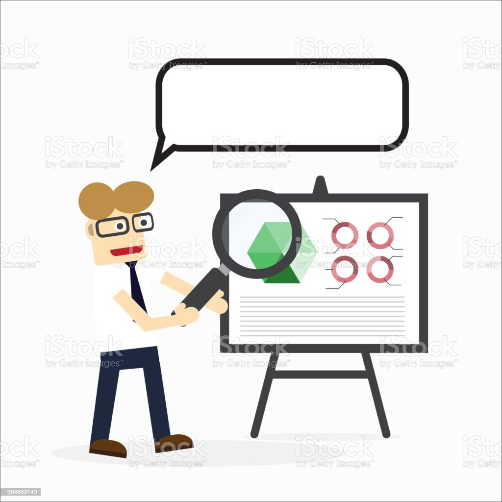 Business man present marketing graph or show investment chart royalty-free business man present marketing graph or show investment chart stock vector art & more images of adult