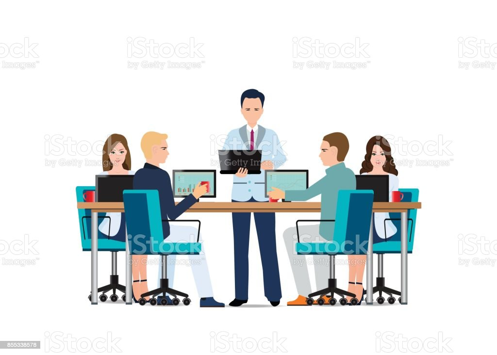 Business man presenting with laptop computer . vector art illustration