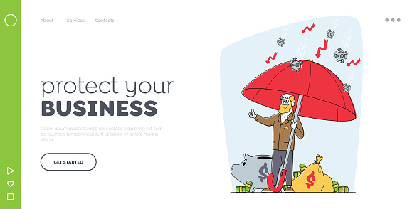 Business Man Protect Capital of Pandemic Landing Page Template. Senior Businessman Character Stand under Umbrella