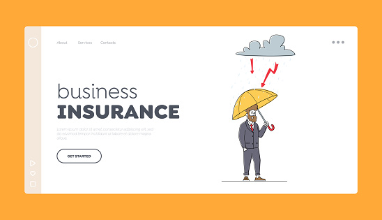 Business Man Protect of Crisis, Safety Landing Page Template. Financial Protection, Security. Businessman under Umbrella