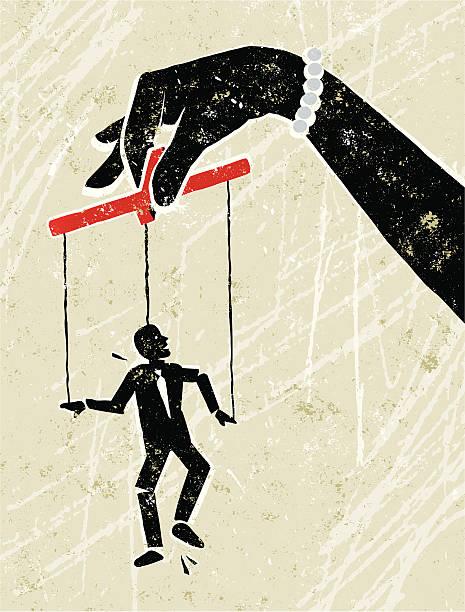 biznes człowiek kukiełka obsługiwane przez giant rękę kobiety - marionetka stock illustrations