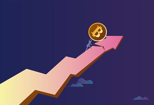 Business man pushes Bitcoin on the arrow, the stock market rises, and is about to fall