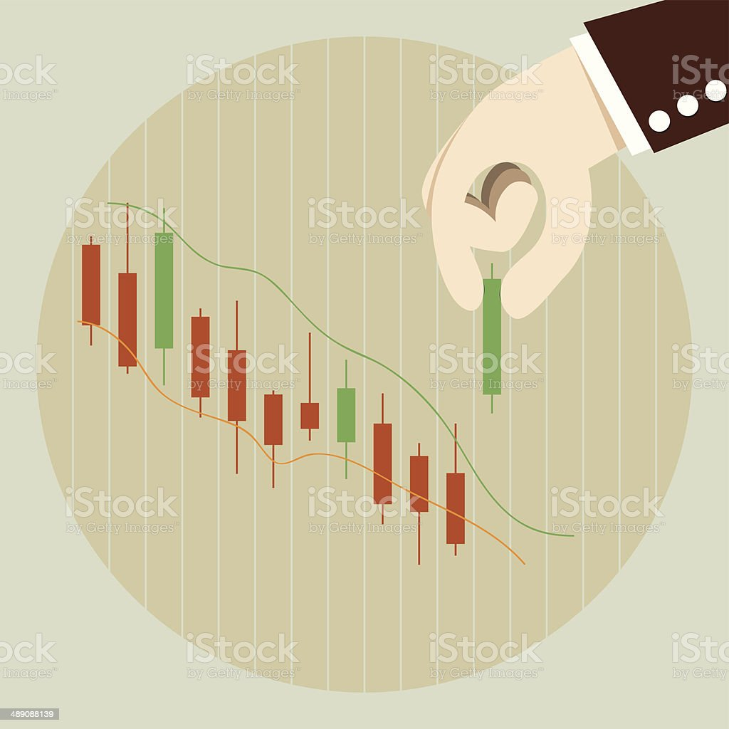 Business man put green candlestick to stock chart vector art illustration