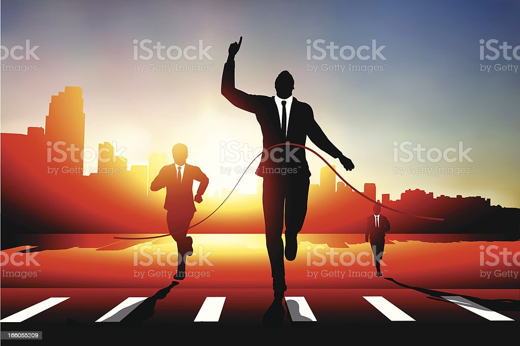 Business man race vector art illustration