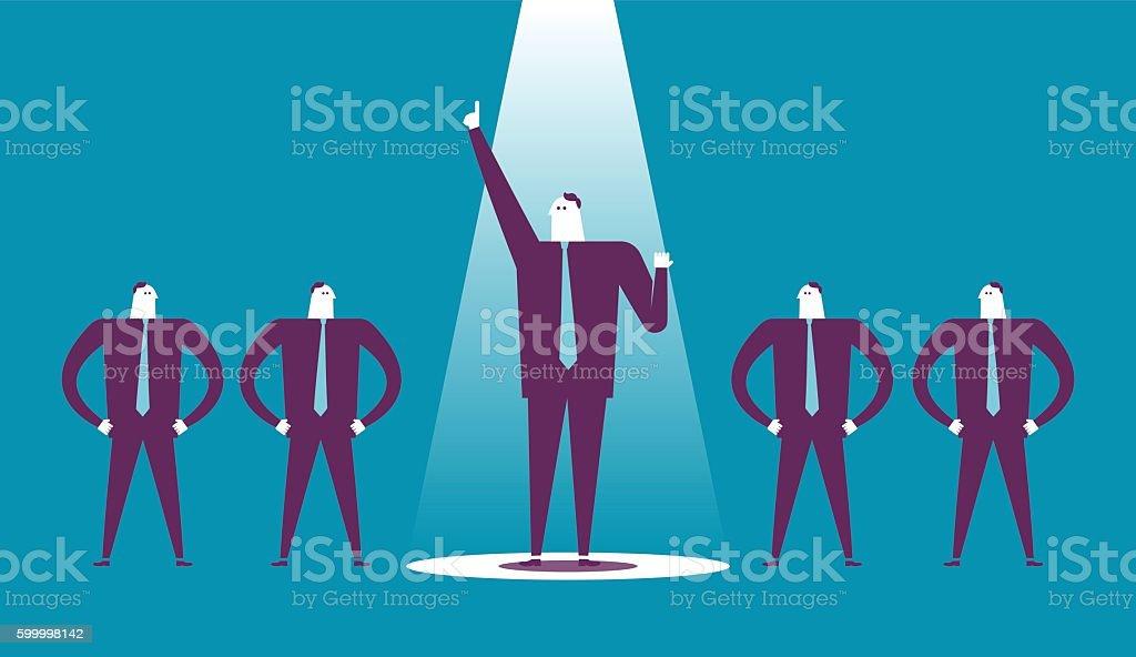 Business man raises his fist in a spotlight. vector art illustration