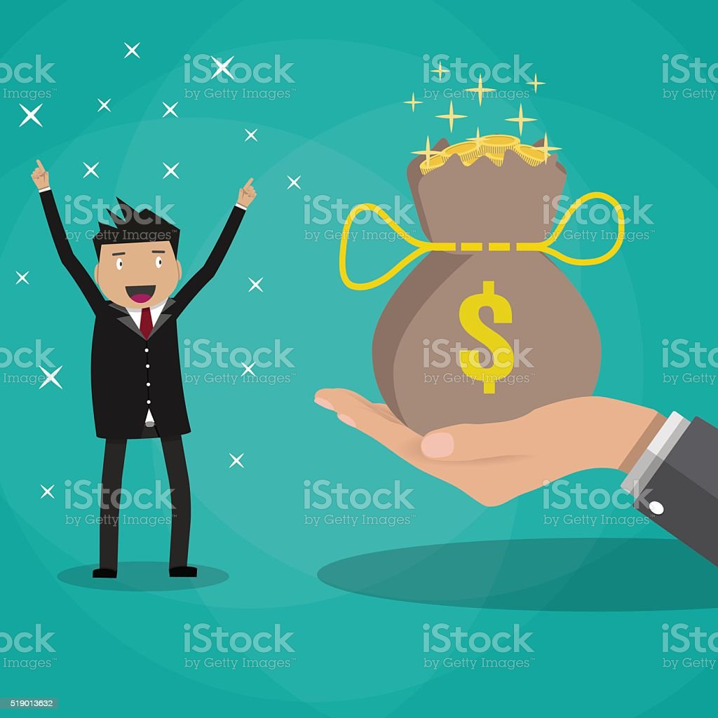 business man receives bag of coins vector art illustration