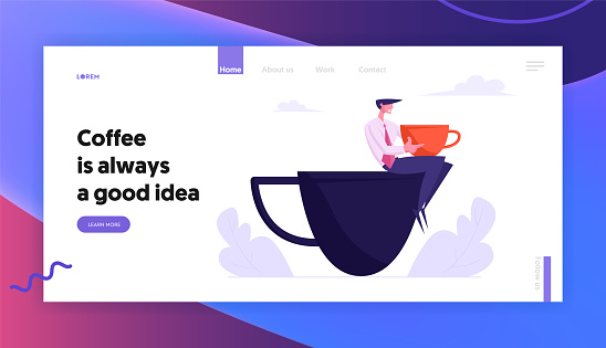 Business Man Relaxing on Coffee Break Sitting on Huge Cup, Male Character Rest in Recreational Place Restaurant Cafe for Lunch, Website Landing Page, Web Page. Cartoon Flat Vector Illustration, Banner