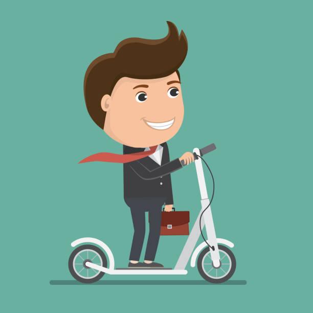 illustrazioni stock, clip art, cartoni animati e icone di tendenza di business man riding electric scooter.vector illustration. - monopattino elettrico