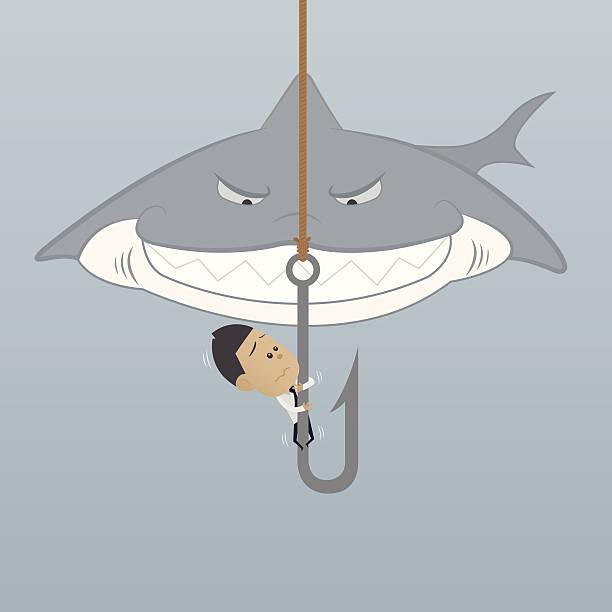 business mann gefahren aufgetreten situationen - haifischköder stock-grafiken, -clipart, -cartoons und -symbole