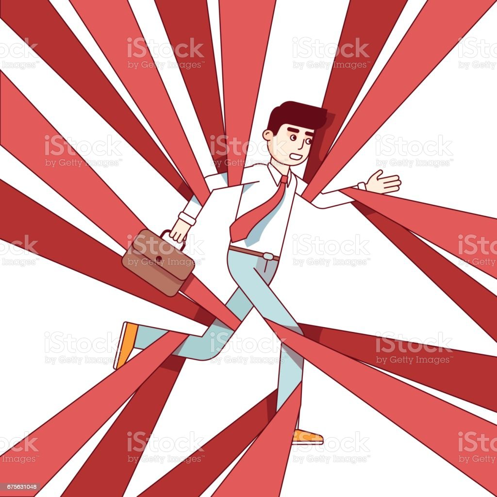 Business man running and overcoming in red tape vector art illustration