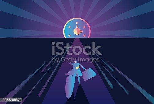 istock Business man running towards time 1283285572