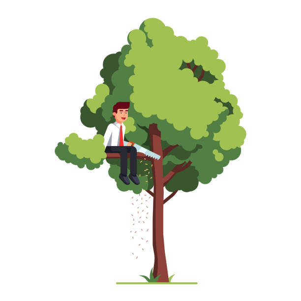 Business man sawing off the tree branch. Flat vector clipart illustration Business man sawing off the tree branch he is sitting on out of sheer stupidity. Flat style vector illustration isolated on white background careless stock illustrations