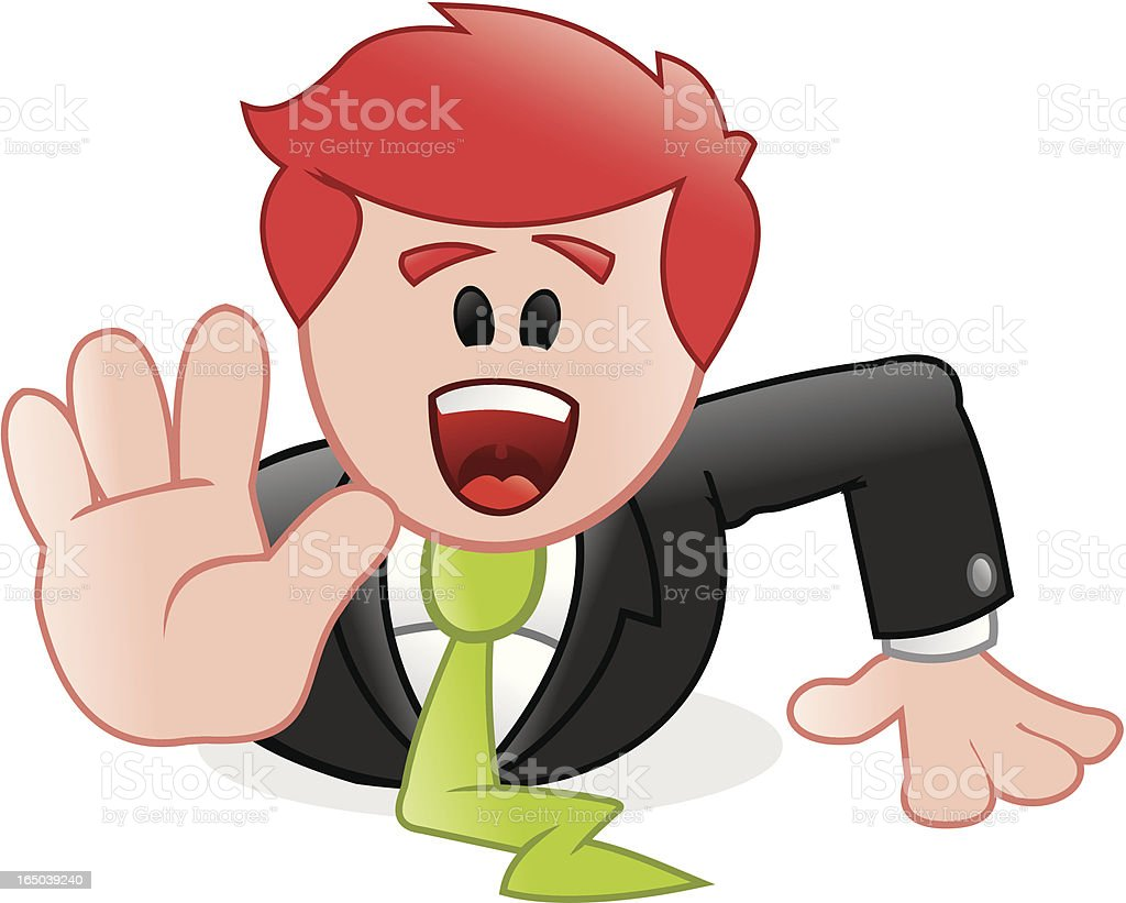 Business - man screaming stop! royalty-free business man screaming stop stock vector art & more images of alertness