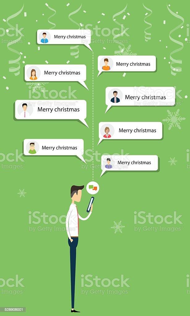 Business Mann Senden Frohe Weihnachten Nachricht Auf Handy Stock ...