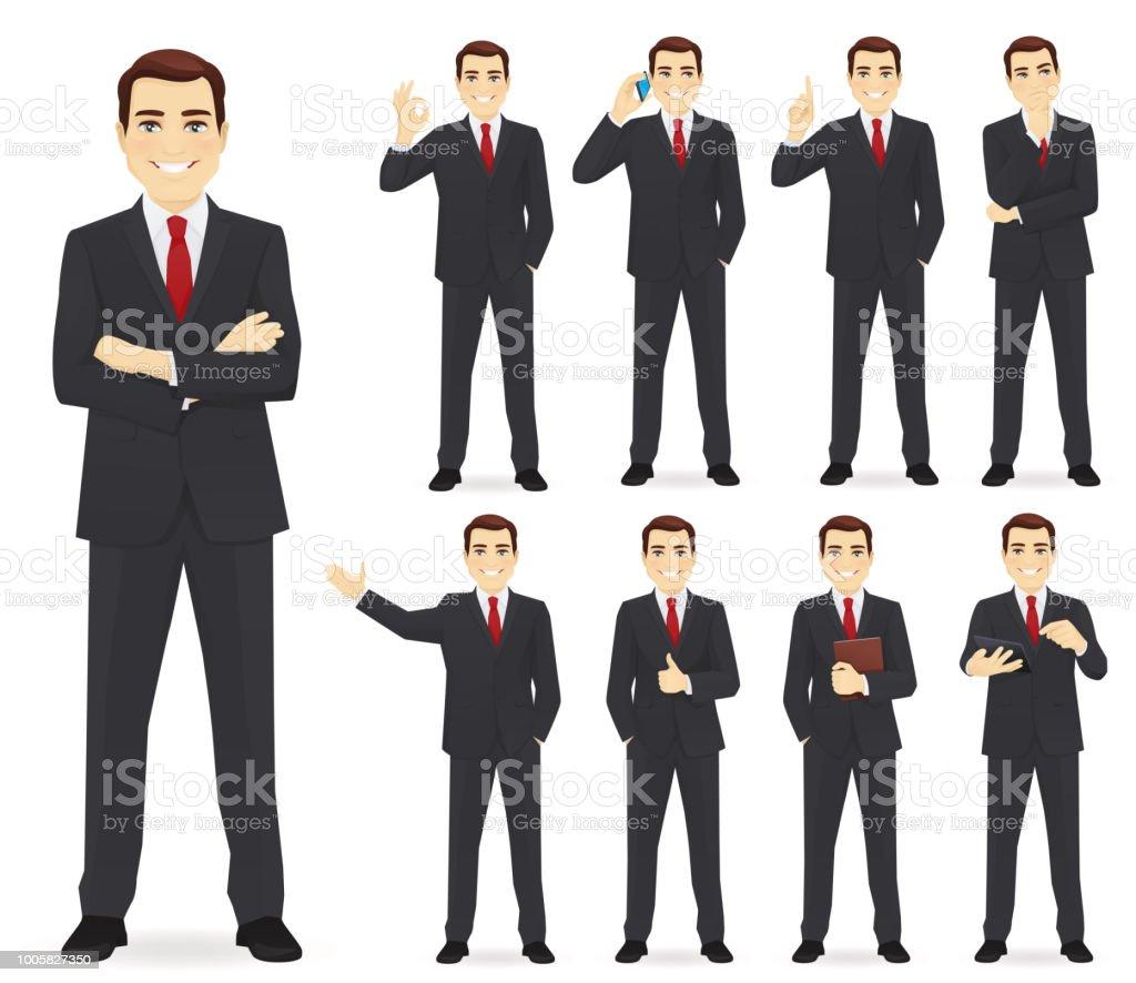 Business man set – artystyczna grafika wektorowa