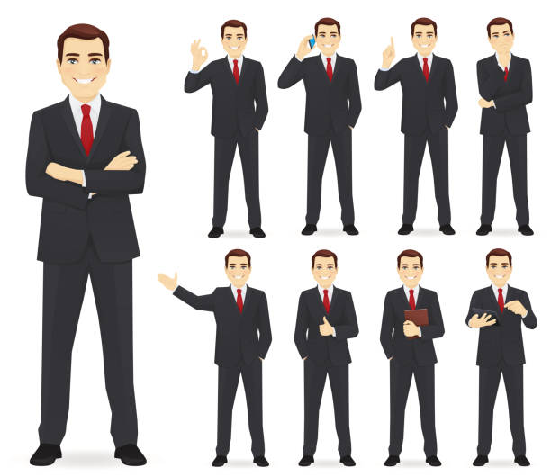 illustrazioni stock, clip art, cartoni animati e icone di tendenza di business man set - business man
