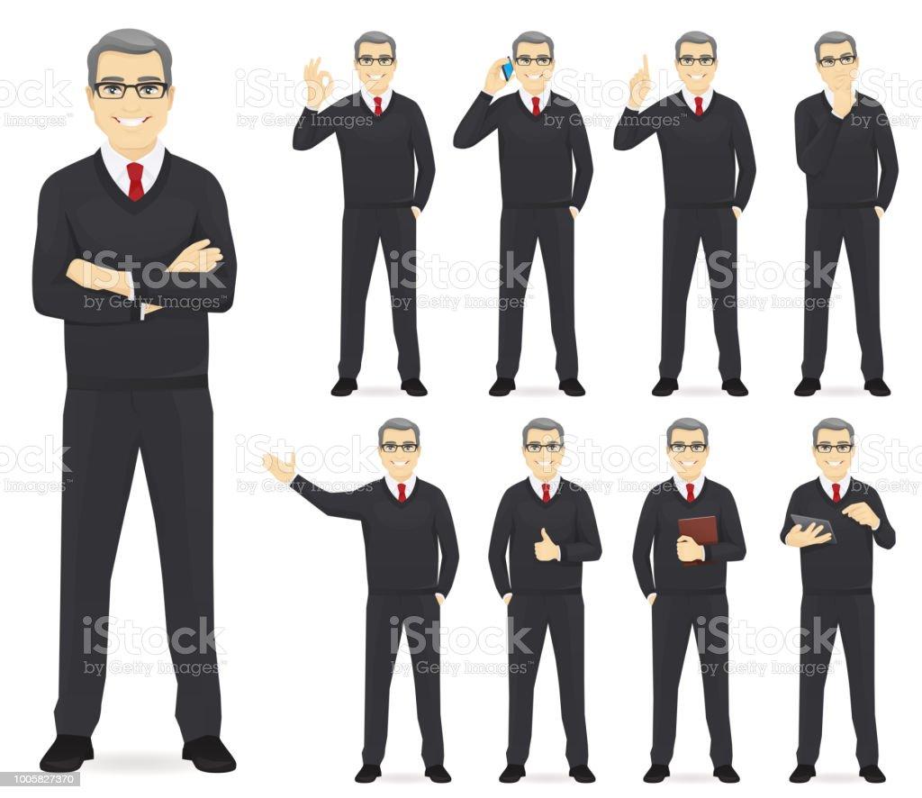 Homem de negócios conjunto - ilustração de arte em vetor