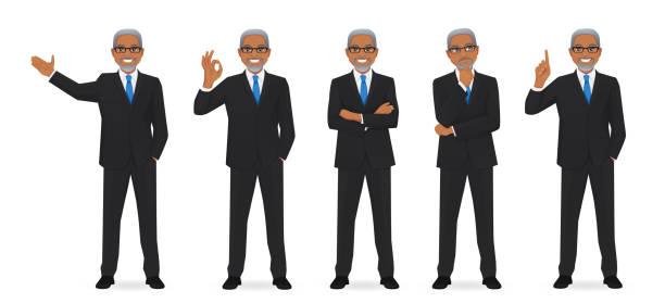 Business man set Business man set different gestures isolated vector illustration suit stock illustrations