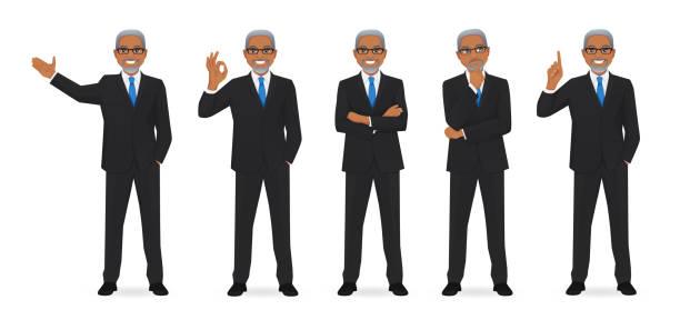 ilustrações de stock, clip art, desenhos animados e ícones de business man set - portrait of confident business
