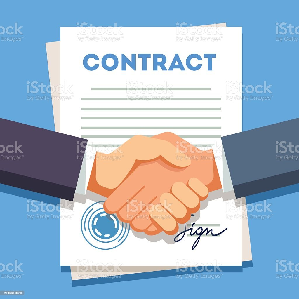 Business man shaking hands over a signed contract vector art illustration