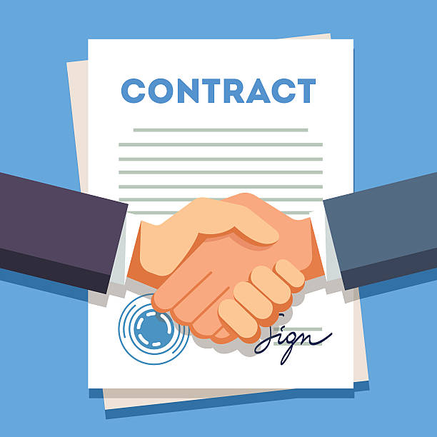 business man shaking hands over a signed contract - sprzedawać stock illustrations