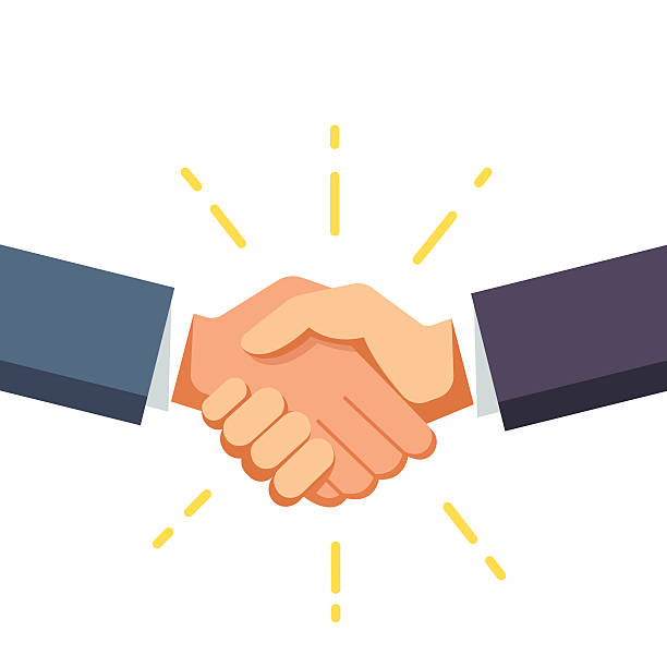 business man shaking hands - el sıkışmak stock illustrations