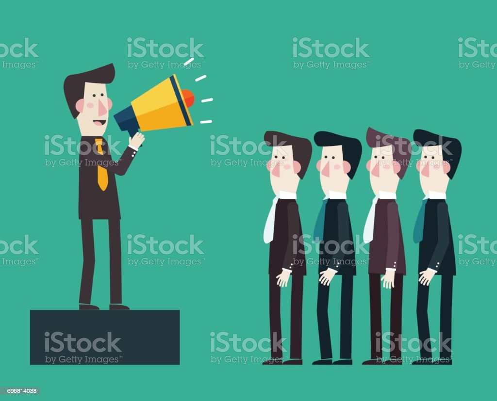 Business man shouting in a megaphone vector art illustration