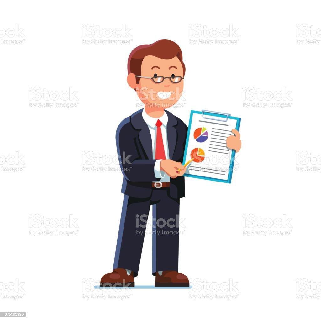 Homme d'affaires montrant le rapport et les données statistiques homme daffaires montrant le rapport et les données statistiques – cliparts vectoriels et plus d'images de adulte libre de droits