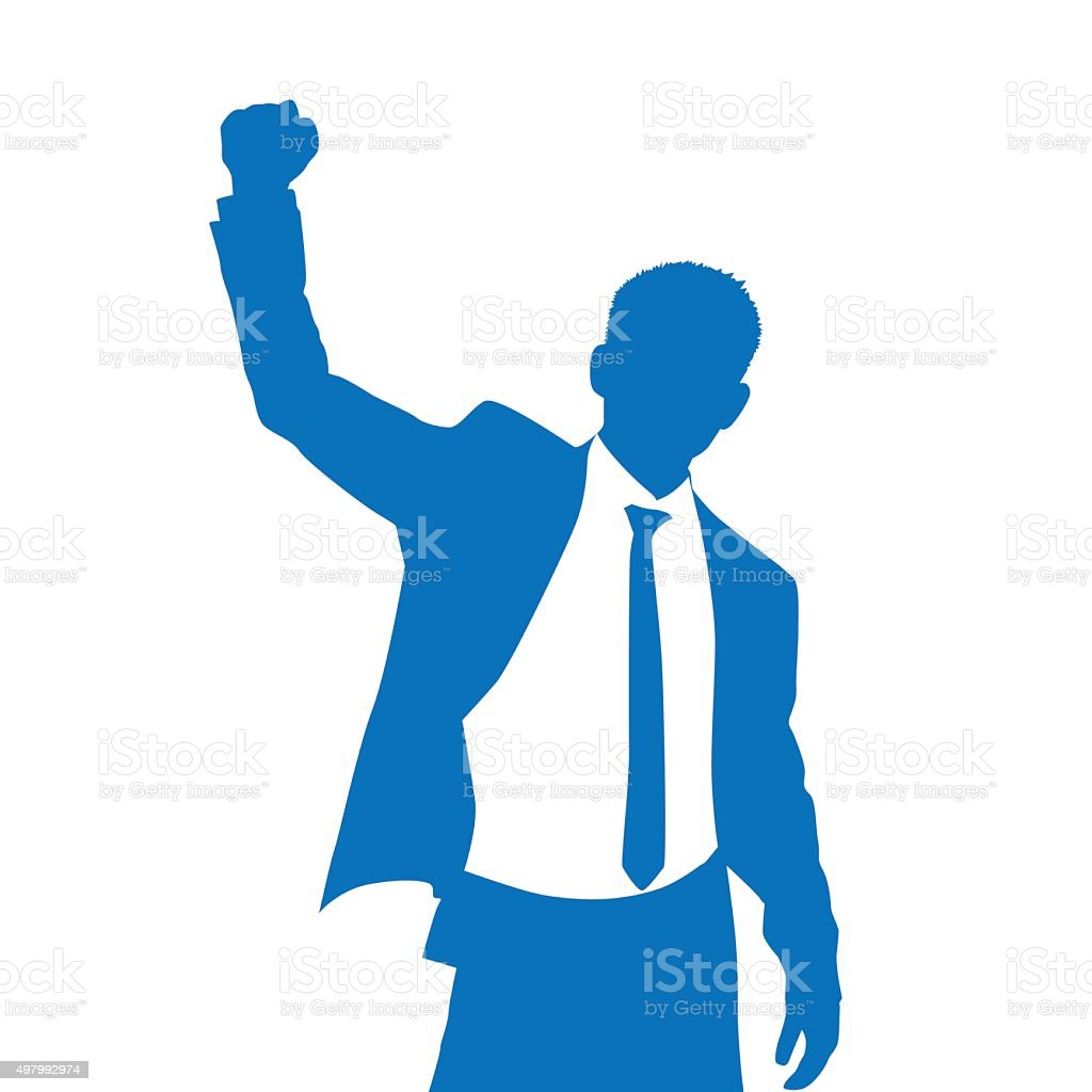Technology Management Image: Business Man Silhouette Excited Hold Hands Up Stock Vector