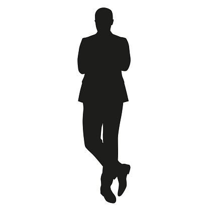 Business man silhouette. Standing man in suit