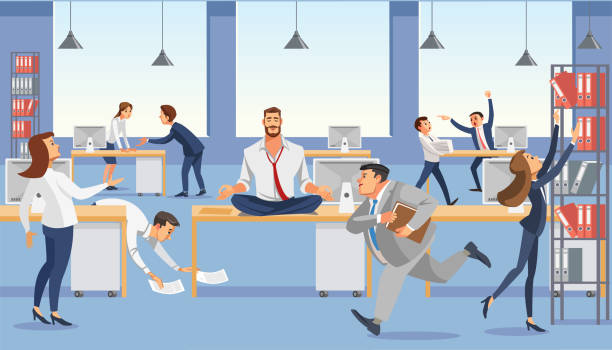 Business man sit on table in office. Calm in meditation relax. Stressed vector cartoon characters. Business man sitting on table and ceep calm in meditation relax. Office workers stressing and hurry up with deadline. Fun cartoon characters. Vector illuctration of job situation in office interior. place of work stock illustrations