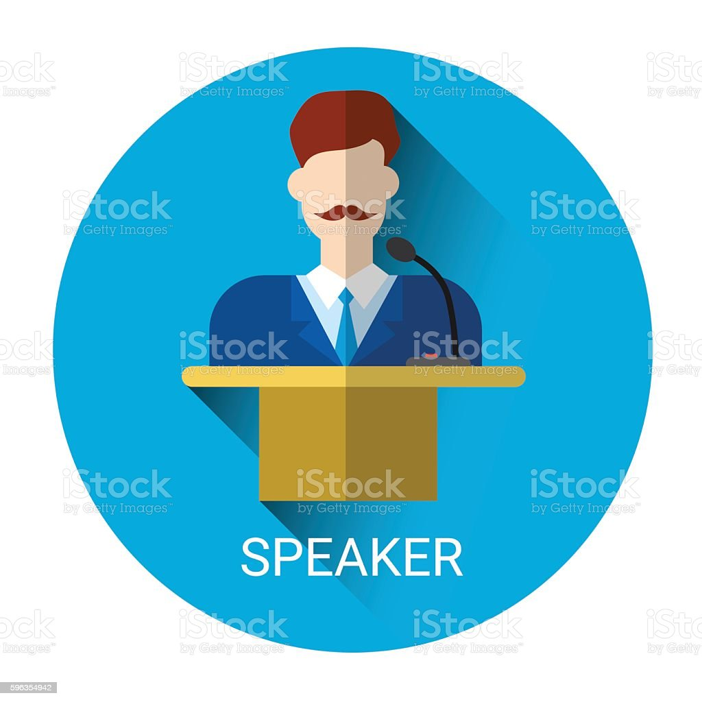 Business Man Speaker Standing Over Tribune Icon royalty-free business man speaker standing over tribune icon stock vector art & more images of adult