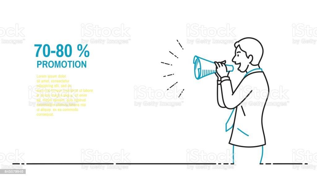 Business man speaker vector art illustration