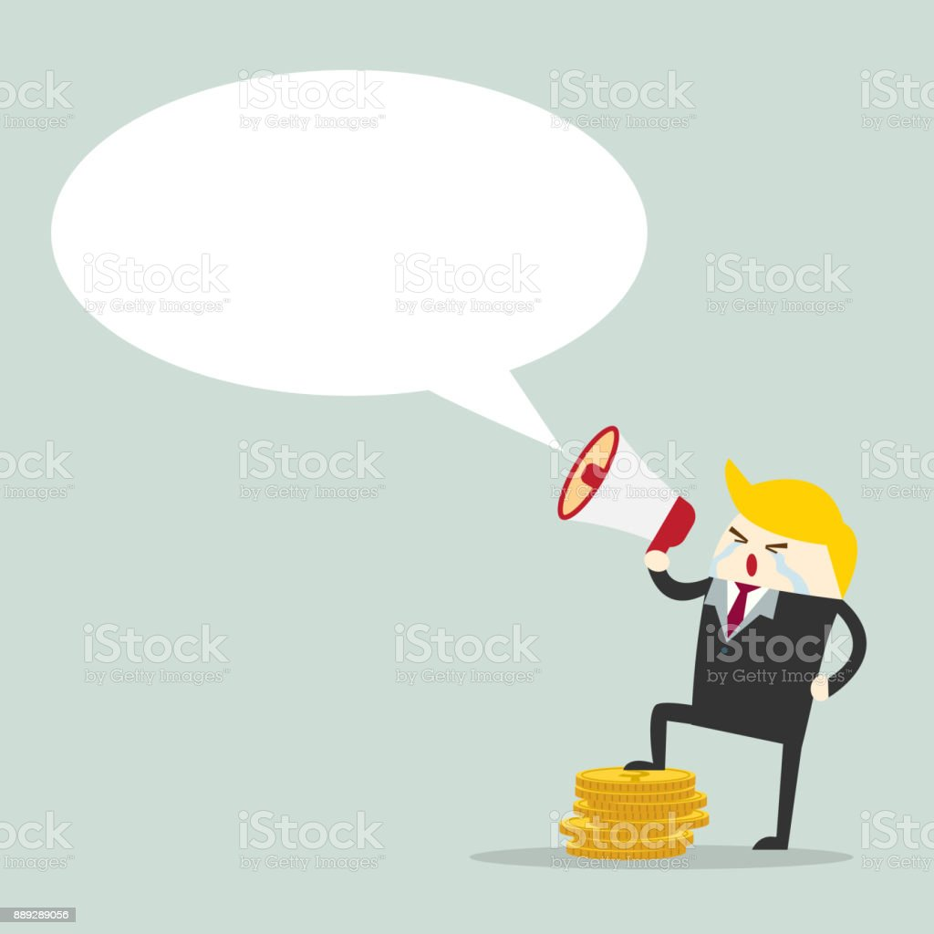 Business man speaking through megaphone. vector vector art illustration