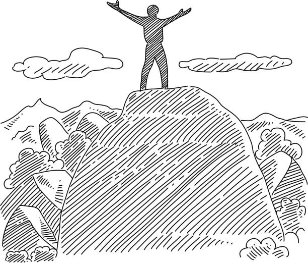 Royalty Free Drawing Of Man Standing Top Mountain Clip Art