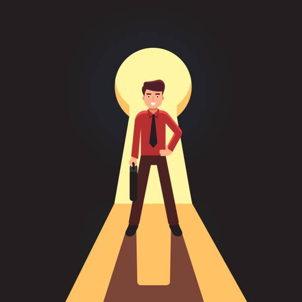 business-mann steht vor gigantischen schlüsselloch. flache vektor-cliparts-illustration - mann tür heimlich stock-grafiken, -clipart, -cartoons und -symbole
