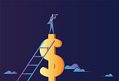 istock Business man standing on dollars looking for target with telescope 1283285432